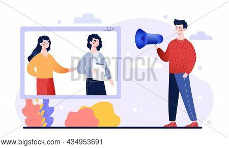 Male Character Is Speaking Into A Megaphone For People Online On White Background. Concept Of Referi