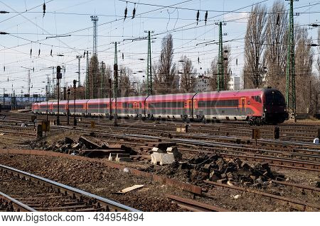 Budapest, Hungary - March 13, 2021: International And Regional Railway Transportation. Passenger Fre
