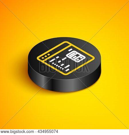 Isometric Line Software, Web Developer Programming Code Icon Isolated On Yellow Background. Javascri