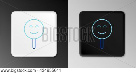 Line Smile Face Icon Isolated On Grey Background. Smiling Emoticon. Happy Smiley Chat Symbol. Colorf