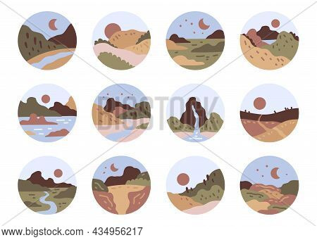 Abstract Landscape View Icon Set. Mountains, River, Sea View. Hills, Sun, Moon. Scandinavian Style L