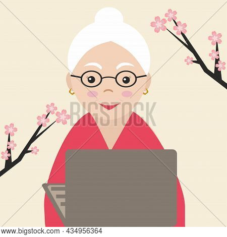 Happy Grandma With Laptop.  Vector Illustration. Communication With Grandmother.