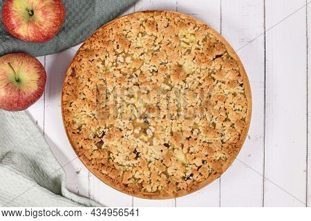 Top View Of Traditional European Apple Pie With Topping Crumbles Called 'streusel'