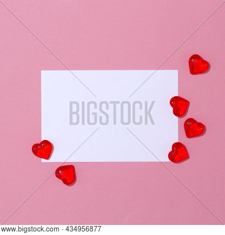 Square Card Mockup, Empty Valentines Day Greeting Card And Heart Shape, Love, Romantic Concept. Wedd