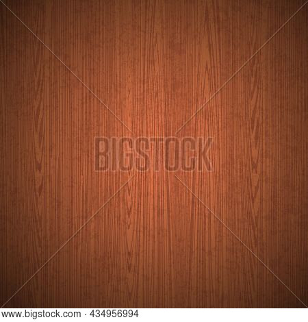 Realistic Vector Wood Table Background. Top View Isolated Wooden Floor. Brown Wood Texture With Stri