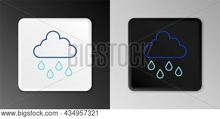 Line Cloud With Rain Icon Isolated On Grey Background. Rain Cloud Precipitation With Rain Drops. Col