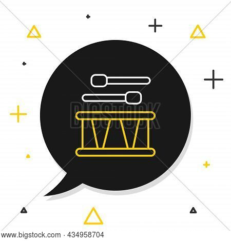 Line Drum With Drum Sticks Icon Isolated On White Background. Music Sign. Musical Instrument Symbol.