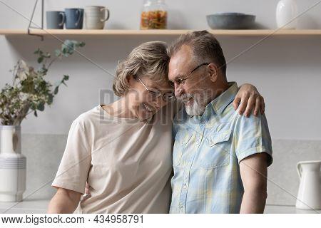 Happy Middle Aged Woman Cuddling Elderly Senior Husband.