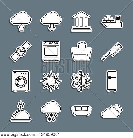 Set Line Cloud, Refrigerator, Meat Chopper, Bank Building, Oven, Wrist Watch, Upload And Handbag Ico