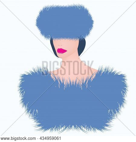 Elegant Woman In A Cloak And A Hat Made Of Blue Faux Fur - Art, Vector. Headdress. Sale. Winter Clot