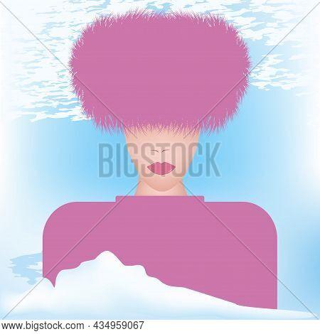 Winter Landscape. Elegant Woman In Pink Faux Fur Hat - Art, Vector. Headdress. Sale. Winter Clothes