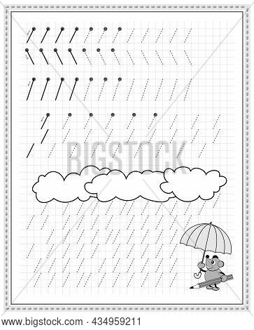 Educational Page On Square Paper For Kids. Black And White Printable Worksheet For Children School T