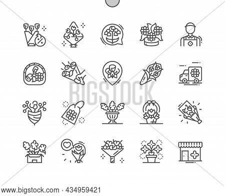 Flower Bouquet. Beauty And Flora. Florist. Flower Shop. Pixel Perfect Vector Thin Line Icons. Simple