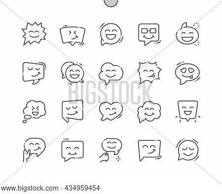 Emoticon Speech Bubble. Fun Cloud. Chat, Dialog, Comic, Message, Communication, Social, Smile. Pixel