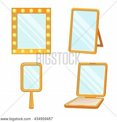 Isolated Object Of Frame And Makeup Sign. Collection Of Frame And Reflection Stock Vector Illustrati