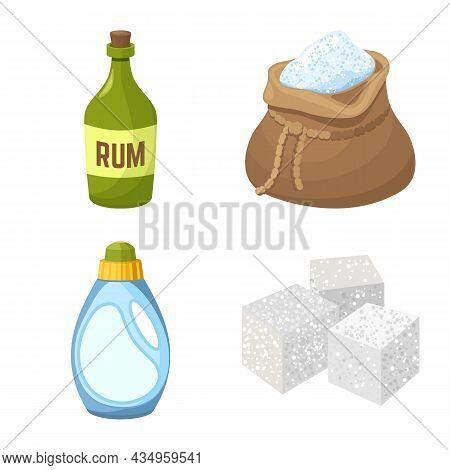 Vector Illustration Of Sugarcane And Plant Symbol. Collection Of Sugarcane And Organic Stock Symbol