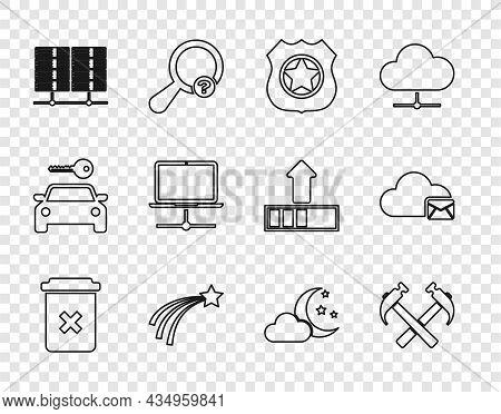 Set Line Trash Can, Two Crossed Hammers, Police Badge, Falling Star, Server, Data, Web Hosting, Comp
