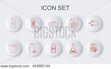 Set Line Clipboard With Dna Analysis, Magnet Lightning, Medicine Pill Or Tablet, Research, Search, M