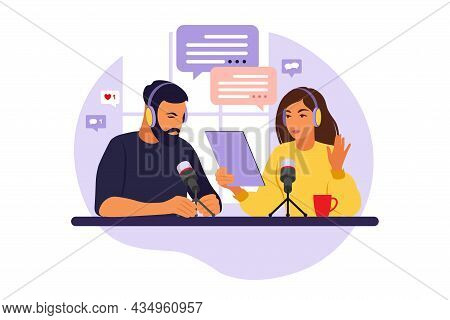 Podcaster Talking To Microphone Recording Podcast In Studio. Radio Host With Table Flat Vector Illus