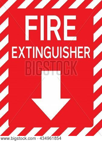 Fire Extinguisher Below Sign. Safety Signs And Symbols.