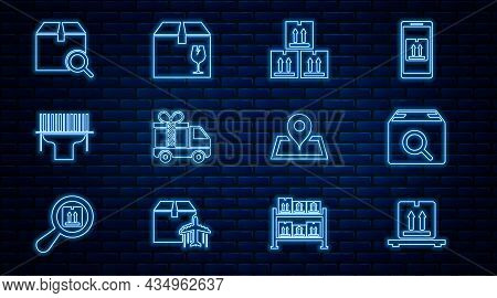 Set Line Cardboard Boxes On Pallet, Search Package, With Traffic, Delivery Truck Gift, Scanner Scann