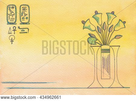 Egyptian Background With The Image Of A Bouquet Of Flowers In A Vase, Vintage Papyrus Background Wit