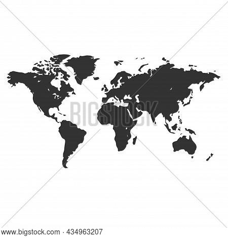 One Color Grey World Map Isolated On Transparent Background. World Vector Illustration
