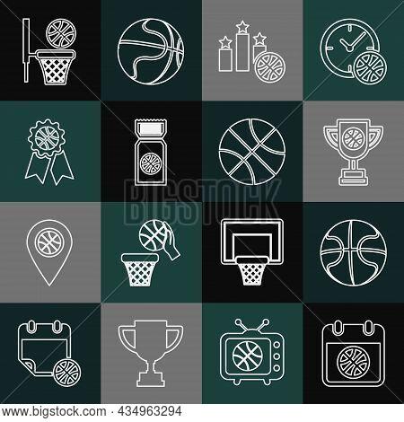 Set Line Basketball On Sport Calendar, Award Cup With Basketball, Sports Winner Podium, Game Ticket,