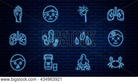 Set Line Crab, Man Having Headache, Flower Producing Pollen, Peanut, Lungs, Hand With Psoriasis Or E