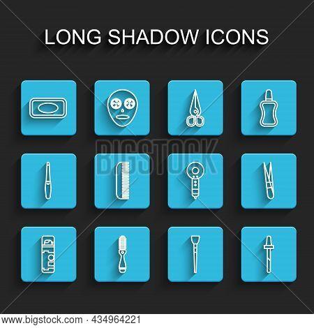 Set Line Shaving Gel Foam, Hairbrush, Bar Of Soap, Makeup, Pipette, Eyebrow Tweezers And Dryer Icon.