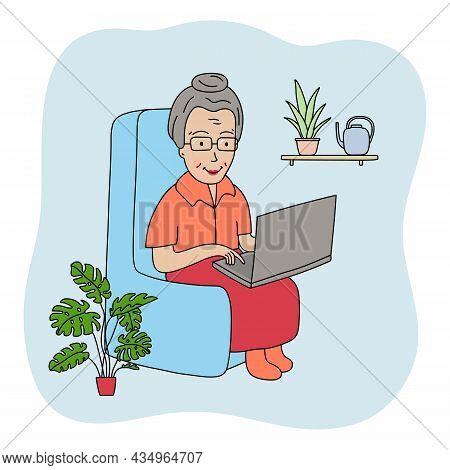 Happy Grandma With Laptop. Vector Cartoon Granny Illustration. Communication. Elderly Woman On The B