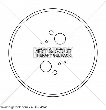 Bag Ice Vector Outline Icon. Vector Illustration Cold Pouch On White Background. Isolated Outline Il