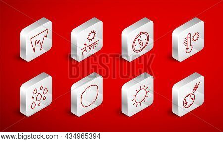 Set Line Comet Falling Down Fast, Drought, Compass, Meteorology Thermometer, Sun, Icicle, Moon And W