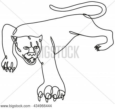 Continuous Line Drawing Illustration Of A Panther Crouching Viewed From Side Done In Mono Line Or Do