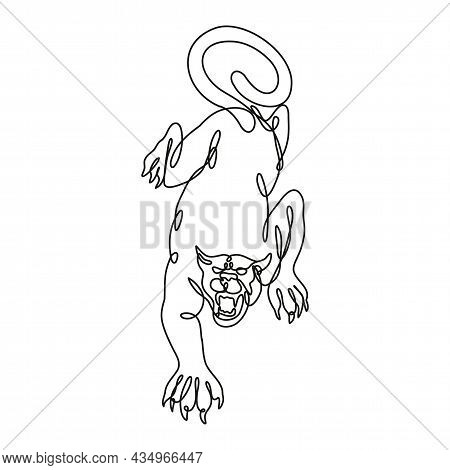 Continuous Line Drawing Illustration Of A Black Panther Crouching About To Attack Front View Done In
