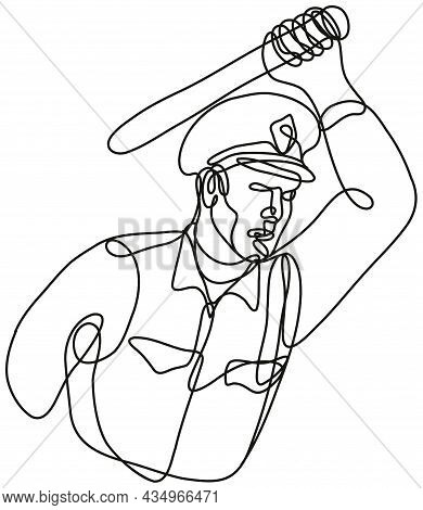 Continuous Line Drawing Illustration Of A Policeman Or Police Officer Striking With Baton Or Nightst