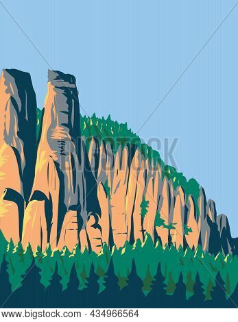 Art Deco Or Wpa Poster Of Elbe Sandstone Mountains Located In Saxon Switzerland National Park In Swi
