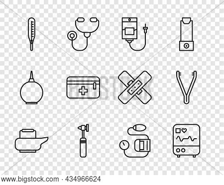Set Line Bedpan, Monitor With Cardiogram, Iv Bag, Medical Otoscope Tool, Thermometer, First Aid Kit,