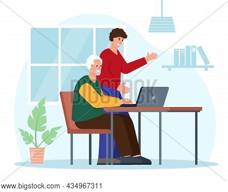 Social Care For Elderly People Concept. Young Man Helps Grandfather Use Computer. Flat Or Cartoon Ch