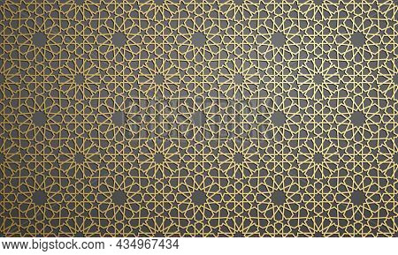 Islamic Ornament Vector , Persian Motiff . 3d Ramadan Islamic Round Pattern Elements . Geometric Cir