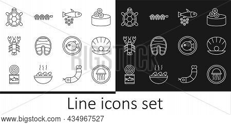 Set Line Jellyfish On A Plate, Shell With Pearl, Fish Caviar, Steak, Lobster, Turtle, Puffer And Gri
