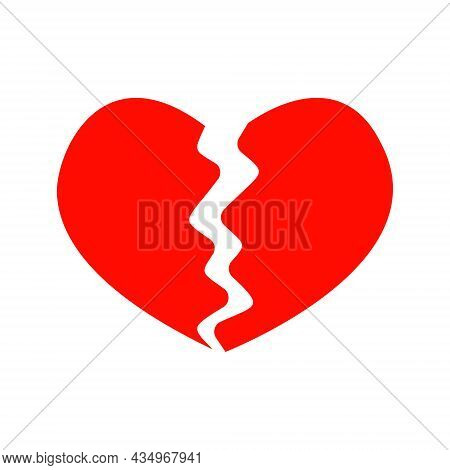 Red Broken Heart Icon Isolated On White Background. Symbol Of Heartbreak, Divorce, Parting, Heartach