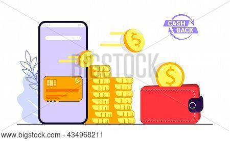 Cashback Concept Saving Money Cash Back Icon With Golden Coins And Wallet Isolated On White Backgrou