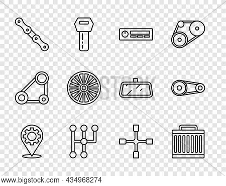 Set Line Car Service, Radiator Cooling System, Audio, Gear Shifter, Chain, Alloy Wheel, Wheel Wrench