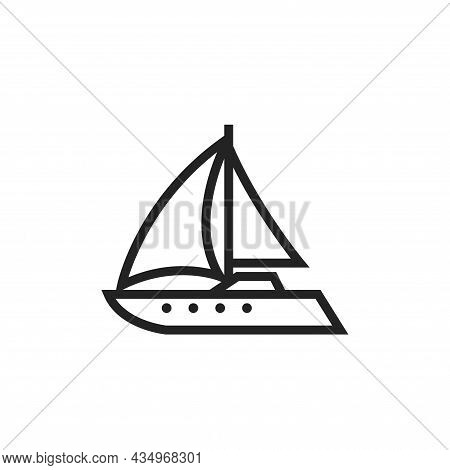 Luxury Sailing Yacht Line Icon. Boat For Sailing Trip