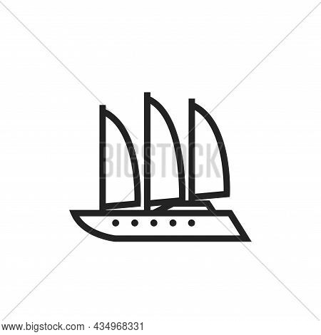 Luxury Sailing Superyacht Line Icon. Sea Cruise Transport