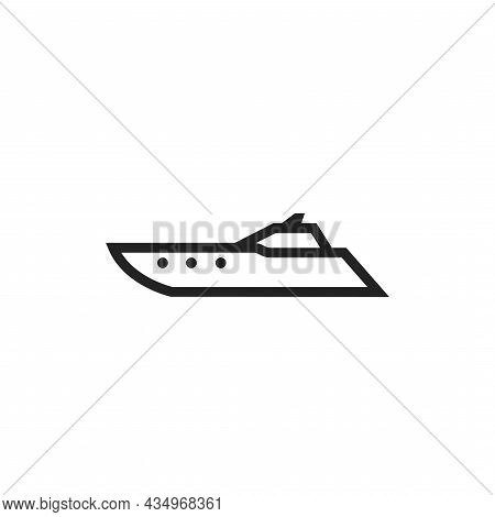 Powerboat Line Icon. Motor Boat For Sea Trip