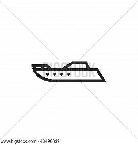 Powerboat Line Icon. Motor Boat For Travel And Rest