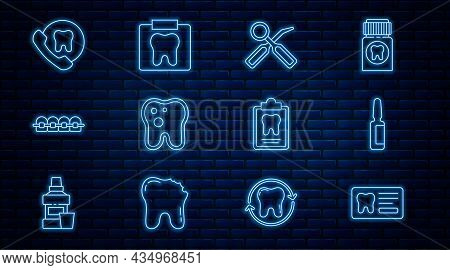 Set Line Dental Card, Painkiller Tablet, Inspection Mirror, Tooth With Caries, Teeth Braces, Online