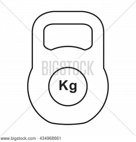 Kettlebell Vector Icon. Outline Vector Icon Isolated On White Background Kettlebell.